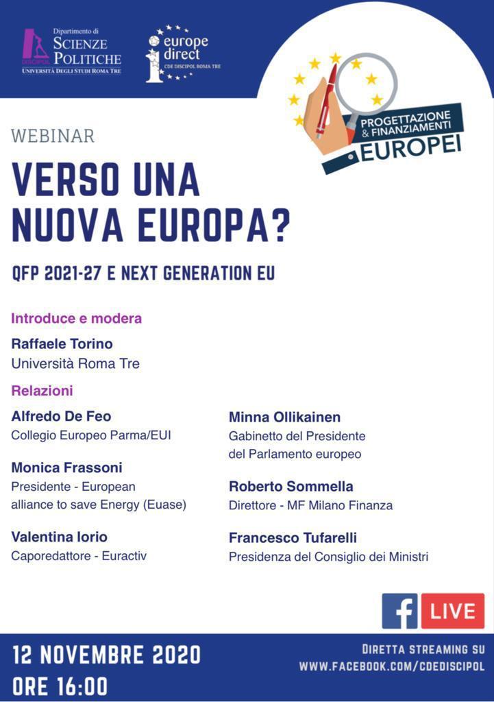 Webinar Verso una nuova Europa